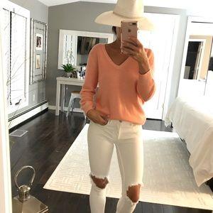 J. Crew Italian Cashmere Pink V Neck sweater Med